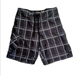 Hurley Plaid Print Board Shorts Swim Trunks